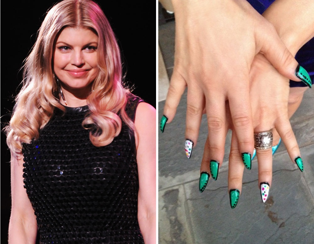 FERGIE and her green claw shaped nails - Celebrity Nail Designs Amy Gives It A Go